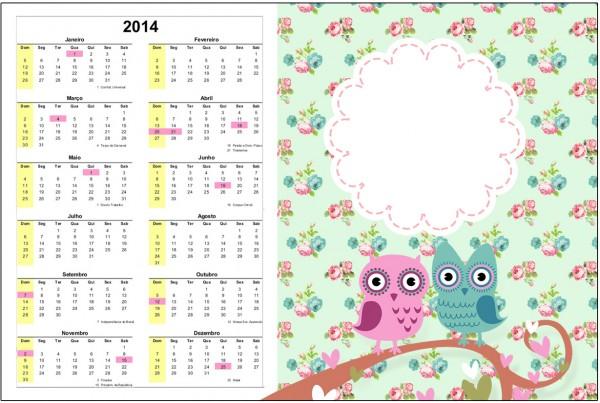 Convite Calendário 2014 Corujinha Vintage Rosa e Verde 1