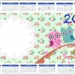 Convite Calendário 2014 Corujinha Vintage Rosa e Verde