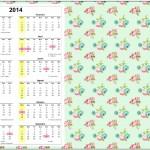 Convite Calendário 2014 Floral Verde e Rosa 1