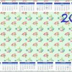 Convite Calendário 2014 Floral Verde e Rosa