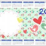Convite Calendário 2014 Passarinho Vintage Rosa e Verde