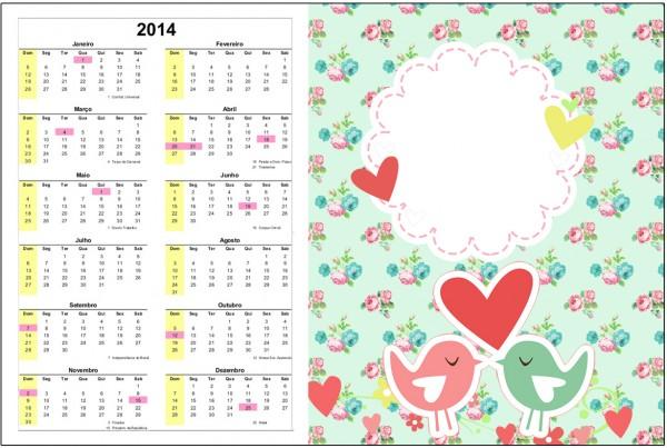 Convite Calendário 2014 Passarinho Vintage Rosa e Verde 2