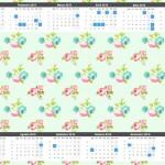 Convite Calendário 2015 Floral Verde e Rosa