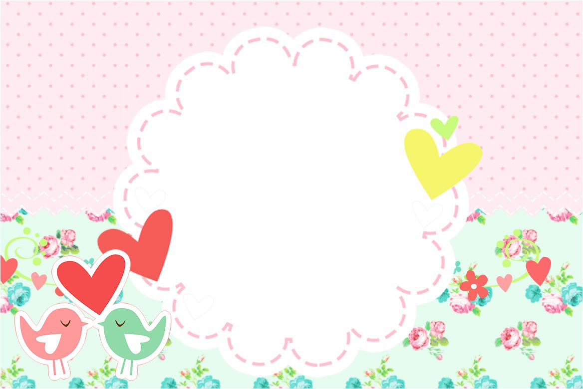 Convite Cartao Passarinho Vintage Rosa E Verde Fazendo A Nossa