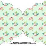 Convite Cupcake Floral Verde e Rosa