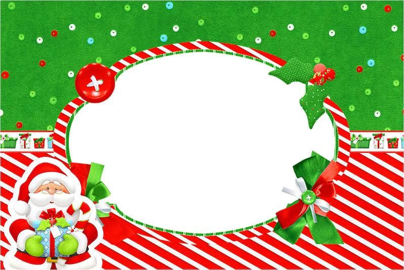 Convite, Moldura e Cartão Natal Vermelho e Verde