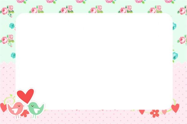 Convite Passarinho Vintage Rosa e Verde 1