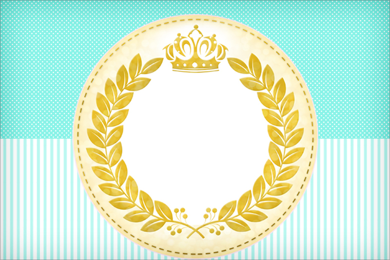 Convite,Moldura e Cartão Coroa de Príncipe Verde