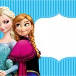 Convite,Moldura e Cartão Frozen Azul