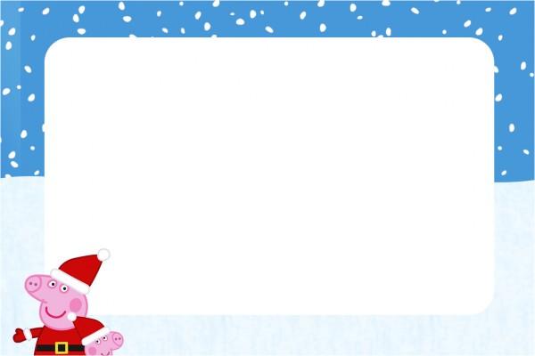 Convite,Moldura e Cartão Peppa Pig Natal 1