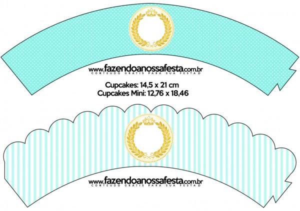 Saias Wrappers para Cupcakes Coroa de Príncipe Verde
