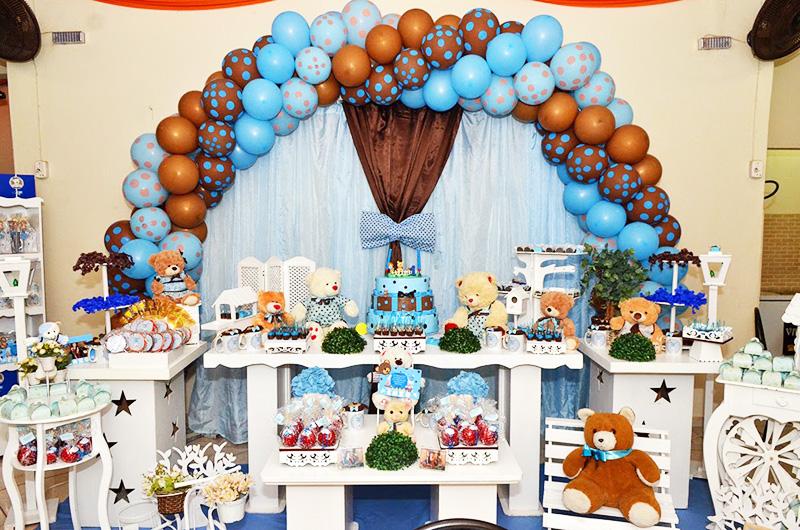Decoração Festa Ursinho Marrom e Azul