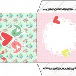 Envelope CD DVD Passarinho Vintage Rosa e Verde