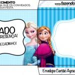 Envelope Cartão Agradecimento Frozen Azul