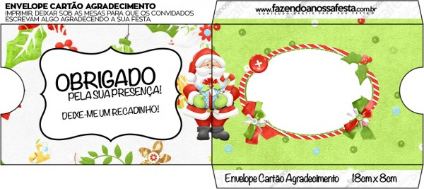 Envelope Cartão Agradecimento Natal