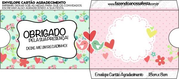Envelope Cartão Agradecimento Passarinho Vintage Rosa e Verde