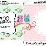 Envelope Convite Cartão Agradecimento Corujinha Vintage Rosa e Verde