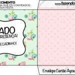 Envelope Agradecimento Floral Verde e Rosa