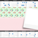 Convite Calendário 2015 Floral Rosa e Verde