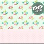 Rótulo Mini M&M Floral Rosa e Verde