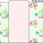 Rótulo Tic Tac Floral Rosa e Verde