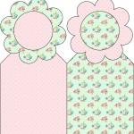 Marcador de Páginas Floral Verde e Rosa