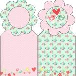Marcador de Páginas Passarinho Vintage Rosa e Verde