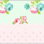 Rótulo Água Floral Verde e Rosa