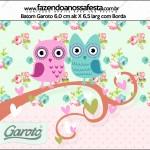Rótulo Batom Garoto Corujinha Vintage Rosa e Verde