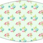 Rótulo Esmalte Floral Verde e Rosa