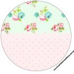 Rótulo Latinhas,Toppers e Tubetes Floral Verde e Rosa