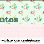 Rótulo Mentos Floral Verde e Rosa