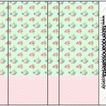 Rótulo Pirulito Mastigável Floral Verde e Rosa