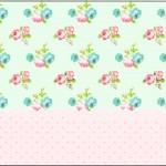 Rótulo Tubetes Floral Verde e Rosa