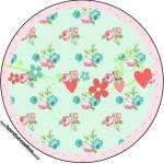 Rótulo para Latinhas,Toppers e Tubetes Passarinho Vintage Rosa e Verde