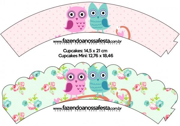Saias Wrappers para Cupcakes Corujinha Vintage Rosa e Verde