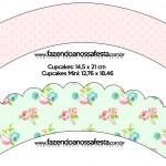 Saias Wrappers para Cupcakes Floral Verde e Rosa