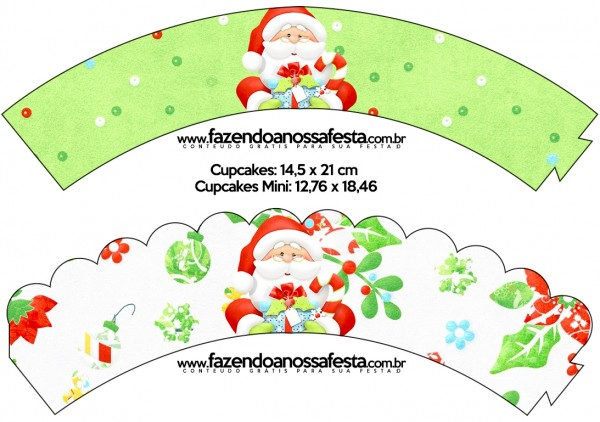 Saias Wrappers para Cupcakes Natal