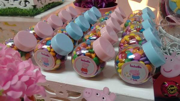 Potinhos com Confete Festa Peppa Pig da Isabella