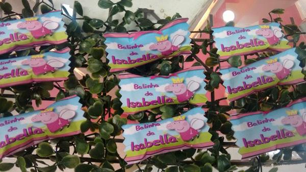 Bala Personalizada Festa Peppa Pig da Isabella