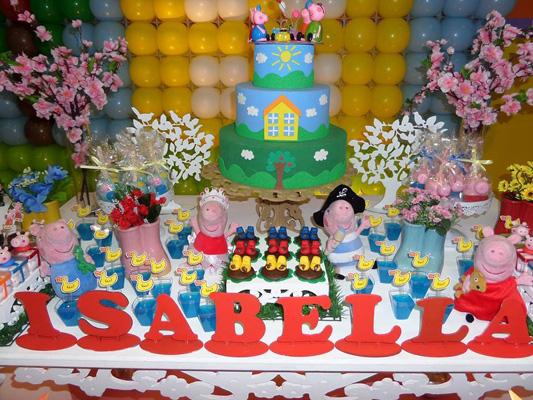 Mesa dos Doces Festa Peppa Pig da Isabella