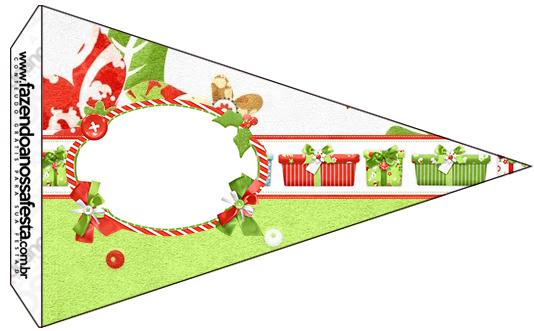 Bandeirinha Sanduiche 5 Fundo Natal Verde e Branco