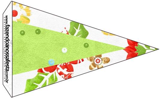 Bandeirinha Sanduiche 7 Fundo Natal Verde e Branco