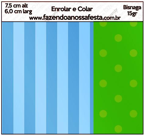 Bisnaga Brigadeiro Fundo Azul e Verde