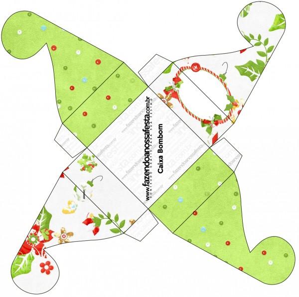 Caixa Bombom Fundo Natal Verde e Branco
