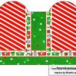 Caixa Coração Fundo Natal Vermelho e Verde