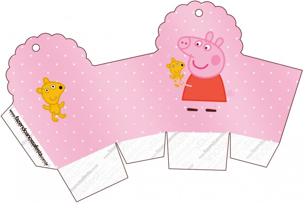 Caixa Cupcake Peppa Pig e Teddy