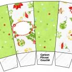 Caixa Pipoca Fundo Natal Verde e Branco