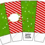 Caixa Pipoca Fundo Natal Vermelho e Verde