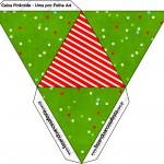 Caixa Pirâmide Fundo Natal Vermelho e Verde